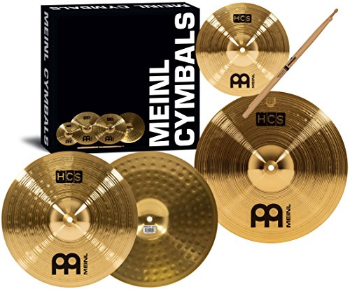Meinl Cymbals HCS1314+10S HCS Pack Cymbal Box Set with 13-Inch Hi Hats, 14-Inch Crash, Plus a FREE Splash Cymbal, FREE Sticks, and FREE (Meinl China Cymbals)