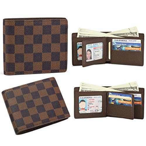 Slim Bifold Checkered Leather Wallet | Classic Minimalist Style | with ID Window/Card Case/Bill Holder | for Men and Women (brown) - Wallets Vuitton Louis Ladies
