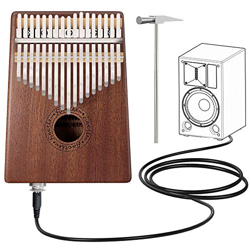 Kalimba 17 Keys Thumb(Piano with Pick up Jack) Mahogany Koa Wood Mbira Sanza Finger Piano Tune Hammer Gift for Kids Adult Beginners Professional Musical Instruments