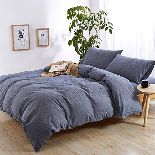 EMME Duvet Cover 3-Piece Set Washed Cotton Premium Bedding Collection Comforter Cover with 2 Pillow Shams Solid Color Hypoallergenic Wrinkle and Fade Resistant (Denim, King/Cal. King)