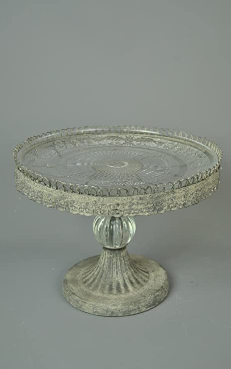 Pleasing Single Tier Vintage Look Cake Stand With Glass Plate And Pewter Funny Birthday Cards Online Fluifree Goldxyz