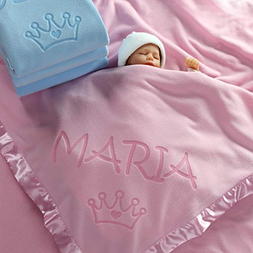 Personalized Fleece Crib Blanket - Custom Catch Princess Baby Blanket for Girls - Toddler Girl Crib Bedding, Receiving Blankets (Pink, Blue: 1 Text Line)