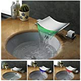 Dumah Universal Two Handle Widespread LED Color-Changing Waterfall Bathroom Vessel Sink Faucet