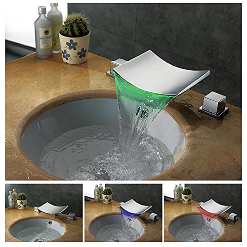 Dumah Universal Two Handle Widespread LED Color-Changing Waterfall Bathroom Vessel Sink Faucet by HTU