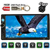 D&A 7inch Car Stereo receiver, Double Din,Touchscreen, Bluetooth,In-Dash MP3/USB/SD/FM with Digital LCD Monitor, Wireless Remote,Multi Color Illumination