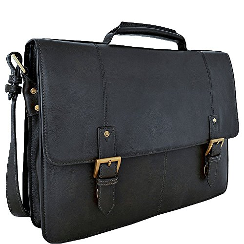 "HIDESIGN Charles Large Double Gusset Leather 17"" Laptop Compatible Briefcase, Black"