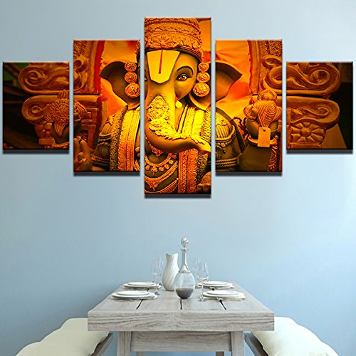 Ganesha Wall Frame (Premium Quality Canvas Printed Wall Art Poster 5 Pieces / 5 Pannel Wall Decor Elephant God Ganesha Painting, Home Decor Pictures - With Wooden Frame)