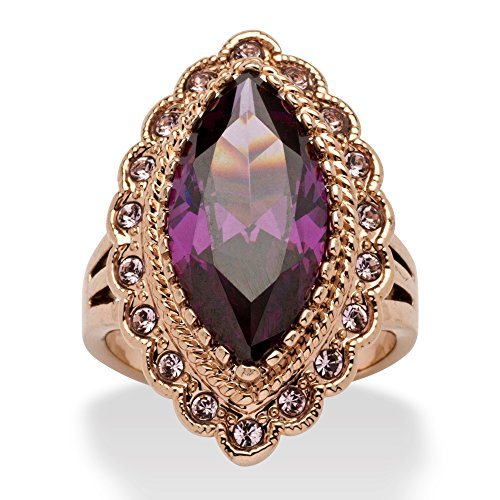 Palm Beach Jewelry Rose Ion Plated Marquise Cut Purple Cubic Zirconia and Round Lavender Crystal Ring