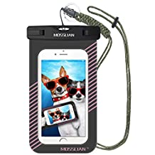 Waterproof Case: MOSSLIAN Waterproof Bag Dry Case Pouch Fits Lovers Family Friends Travel Sports Swimming Hiking for iPhone 7, 6s, 6, 5, 4, Samsung Galaxy S6 Edge, S6, S5, S4, HTC, LG, HUAWEI Mate 9, P9, P8 other Smartphones upto 6 Inch