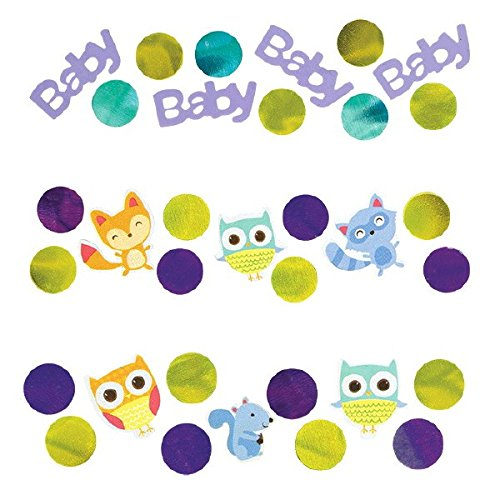 Cuddly Woodland Welcome Baby Shower Party Confetti Table Decoration, Paper, 1.2 (Purple And Teal Baby Shower Decorations)