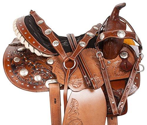 "14"" 15"" 16"" PREMIUM HAND CARVED WESTERN PLEASURE TRAIL CRYSTAL SHOW BARREL HORSE SADDLE FREE TACK SET (14) -"
