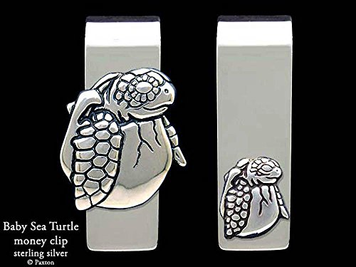 Baby Sea Turtle Money Clip in Solid Sterling Silver Hand Carved, Cast & Fabricated by Paxton by Paxton Jewelry