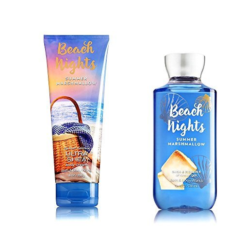 Bath Body Works Beach Nights Summer Marshmallow Body Cream and Shower Gel Set