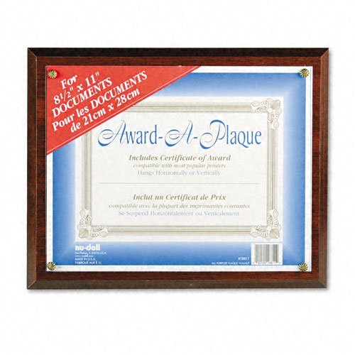 Nu-Dell : Award-A-Plaque Document Holder, Acrylic/Plastic, 10-1/2 x 13, Walnut -:- Sold as 2 Packs of - 1 - / - Total of 2 - Dell Nu Award