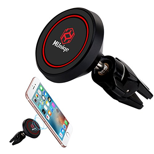 MUniqe Universal Air Vent Magnetic Phone Car Mount Holder, Cradle Suitable for iPhone X 8/7/7Plus/6s/6Plus/5S, Galaxy S5/S6/S7/S8, Google Nexus, LG, Huawei and More Smartphone (Black)