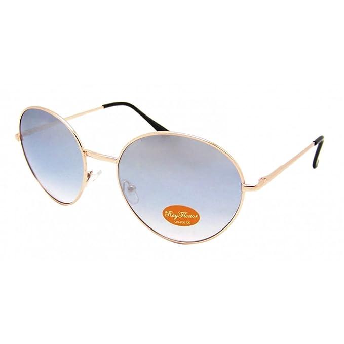 Gafas de sol redondas medio de oro de gran tamaño John ...