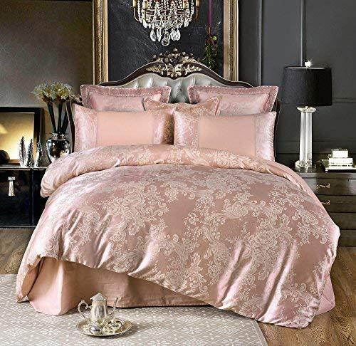 UniTendo 4 Piece Sateen Cotton Jacquard Duvet Cover Sets,Delicate Floral Pattern Bedding Sets,Duvet Cover Flat Sheet 2 Pillowcases,Queen, Red Bean ()