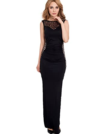ohyeahlady Womens Hollow Out Evening Wedding Long Prom Gown Side Slit Dress Plus Size Maxi Dress