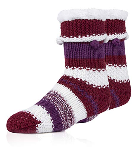MaaMgic Womens Christmas Fuzzy Slipper Sock Ladies Warm Funny Cable Knit Striped Socks With Grips