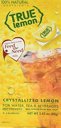 True Lemon Dispenser Pack 100ct. Plus 5 SAMPLE sticks of True Lemon Lemonade, Peach, Raspberry, Black Cherry, and Orange Mango. Natural Flavored Water Enhancer, Great beverage option for Paleo Diet, A