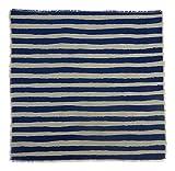 Gitika Goyal Home Windows Collection Cotton Khadi  Grey Napkin 17x17 Stripe Design, Blue Hand Screen Print