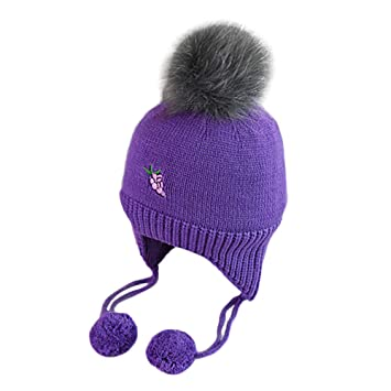 2389468f464 Amazon.com   Inkach Baby Earflap with Hairball Knitted Hats Winter Keep Warm  Caps Beanie Hat with Pom Poms (Purple)   Baby