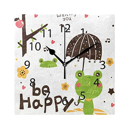 (LONK Wall Clock,Square 8x8 Inches Silent Happy Frogs Rainy Day Waiting Decorative for Home Office Kitchen Bedroom)