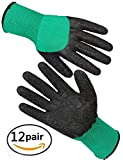 Long Cuff Stretch Nylon Knit Garden Gloves with Full Finger Latex Coating, Medium Size , Green , 12 Pairs