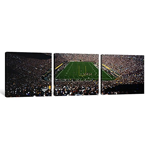 Football Panoramic Print (iCanvasART 3 Piece Aerial view of a Football Stadium, Notre Dame Stadium, Notre Dame, Indiana, USA Canvas Print by Panoramic Images, 36