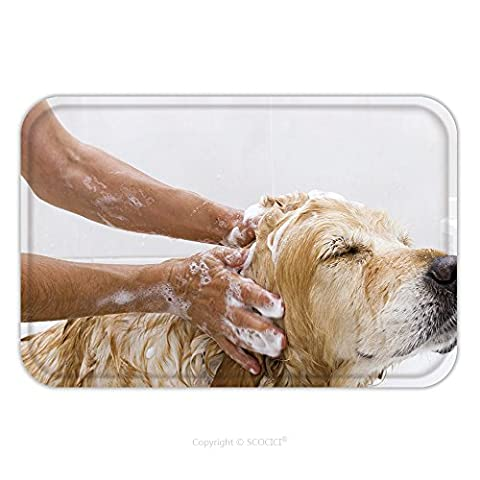 Flannel Microfiber Non-slip Rubber Backing Soft Absorbent Doormat Mat Rug Carpet A Dog Taking A Shower With Soap And Water 115685611 for - Echelon Echelon Shower Locker