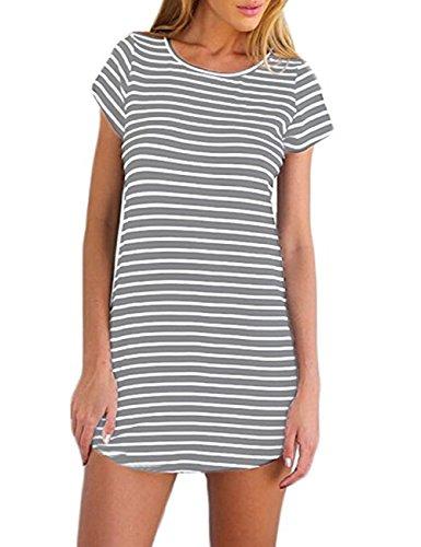 Crewneck Tee Line Sleeve Short (OURS Womens Crewneck Short Sleeve Striped Loose A-Line Tunic T Shirt Dress (L, Gray))