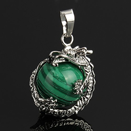 Malachite Round Gem Stone Necklace Dragon Pendants Charms Craft Jewelry Making Findings DIY