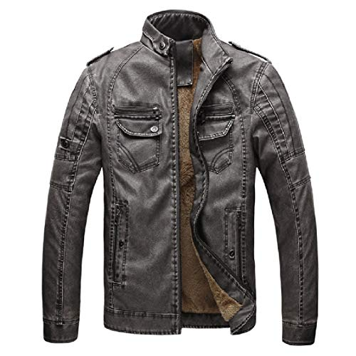 Leather Faux Pocketed Leather College Jacket Faux EnergyMen Plus Velvet Outwear Fashion Grey nzTUCR