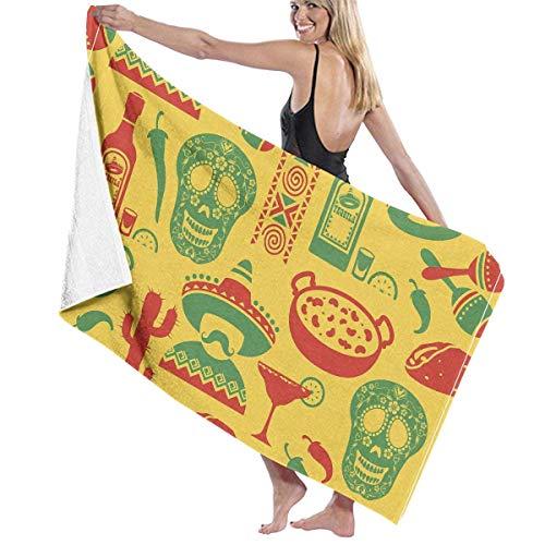 Makayla Riley Wrap Towel Mexico Sugar Skull Style Pattern Beach Pattern Towels Ultra Absorbent & Fast Drying Microfiber Towel,Soft 31 in X51 ()