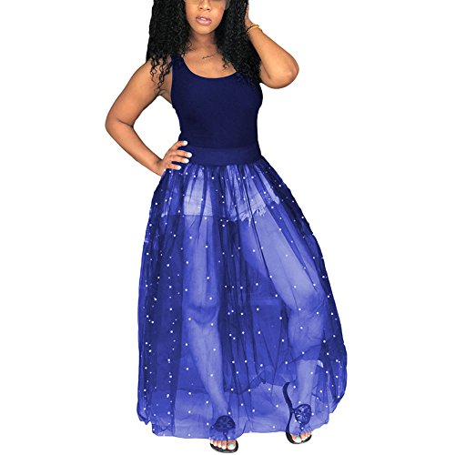 - Kafiloe Women Sexy Tank Bodycon Mesh See Through Beading Pearls Sheer Maxi Dress Ball Gown Skirt Royal Blue L