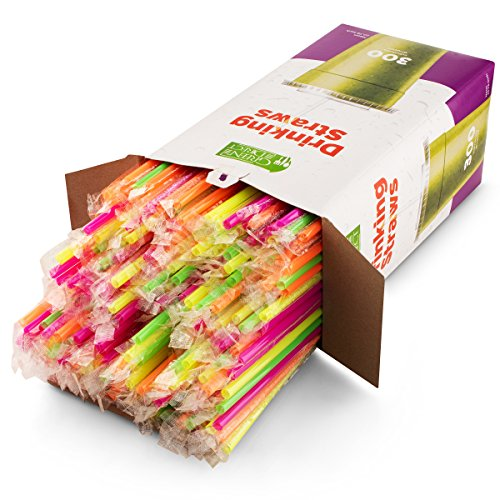 Drinking Straws by Green Direct - 10.75 inches Plastic Smoothie Straws Individually Wrapped - Extra Long & Thick for use with Any Jumbo Cup Or Water Bottle - BPA Free - Mixed Neon Colors Pack of 300