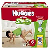 HUGGIES Little Movers Slip On Diaper Pants, Size 6, 52 Count