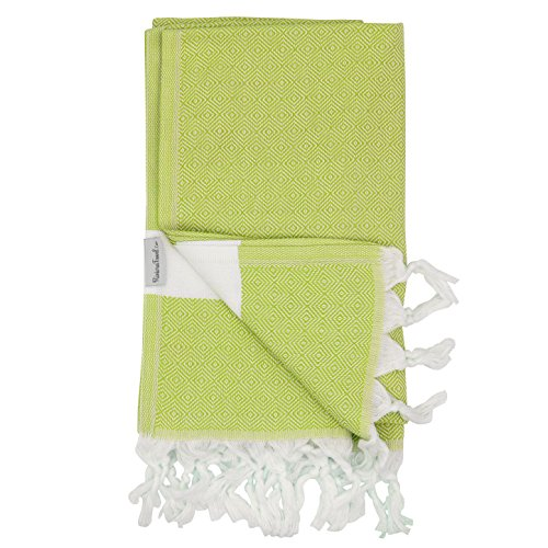 Lime Diamond Turkish Towel - Naturally Dyed 100% Cotton - 70x39 inches - Beach Bath Pool Yoga Pilates Picnic Blanket Scarf Wrap Hammam Fouta Turkish Bath Towels - Mills Colorado Outlet