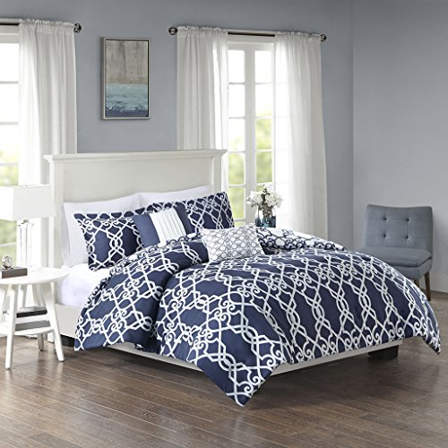 - 510 Design Neptune Comforter Reversible Inverse Fretwork Lattice Stripes Vibrant Pleated Pillow Ultra Soft Down Alternative Hypoallergenic All Season Bedding-Set, King/Cal King, Dark Navy