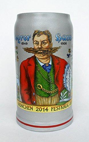 Munich Oktoberfest Beer - Munich Official Oktoberfest 2014 Wirtekrug (Host Mug) German Oktoberfest Beer Mug 1.0 Liter, Salt Glaze | Official Munich Oktoberfest Beer Mug 2014