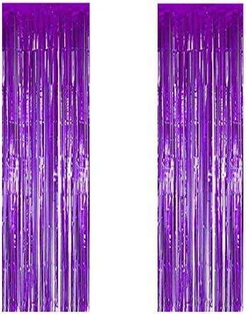 JOYYU Purple Foil Fringe Curtain, 2PCS 3.28FT x 8.2FT Metallic Tinsel Door Curtains Photo Booth Backdrop for Wedding Birthday Bridal Shower Baby Shower Bachelorette Christmas Party Decorations