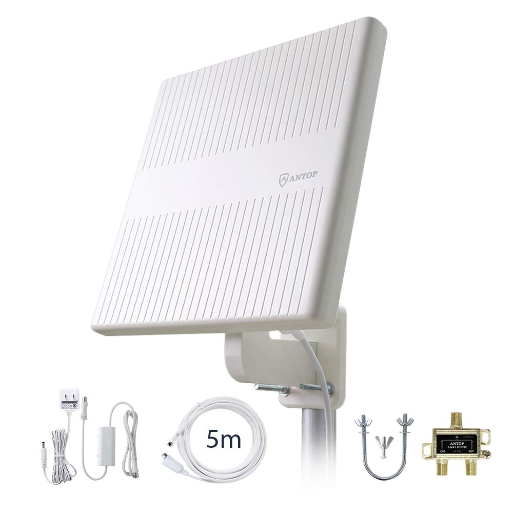 ANTOP Flat-Panel HDTV Antenna Outdoor, 360° Omni-Directional Amplified TV Antenna for VHF/UHF,Built-in 4G LTE Filter,Support 4K 1080p Channels & All Older TV's for Outdoor,16ft Coaxial Cable by ANTOP ANTENNA