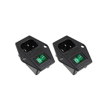 AC 10A 120V IEC320 C14 Inlet Module With Green LED Rocker Switch and Fuse Holder