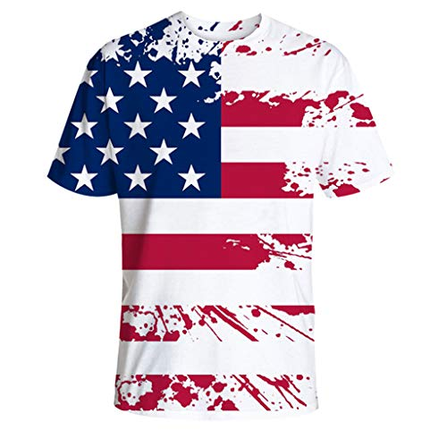 T Shirts for Men,BOLUBILUY Casual Short Sleeve Tops American Flag Printed Shirts Crew Neck Blouse 4th of July White