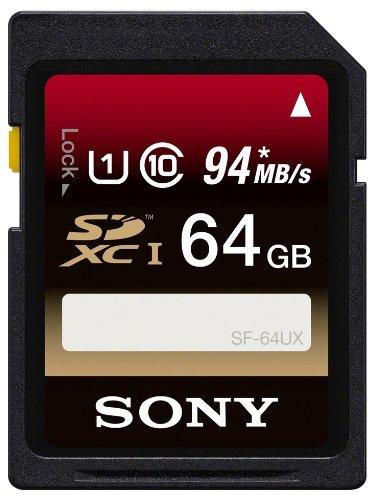 Sony SF64UX - Tarjeta de Memoria SDXC de 64 GB (uhs-I, Clase 10, 94 MB/s), Negro