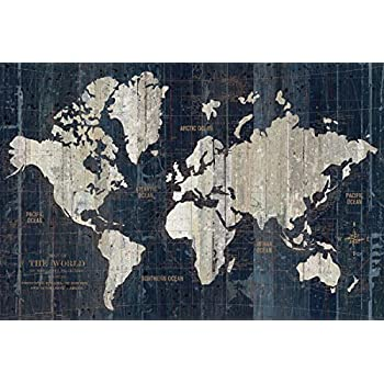 Amazon beautiful navy blue map of the world by wild apple beautiful navy blue map of the world by wild apple portfolio one 36x24in fine art gumiabroncs Choice Image