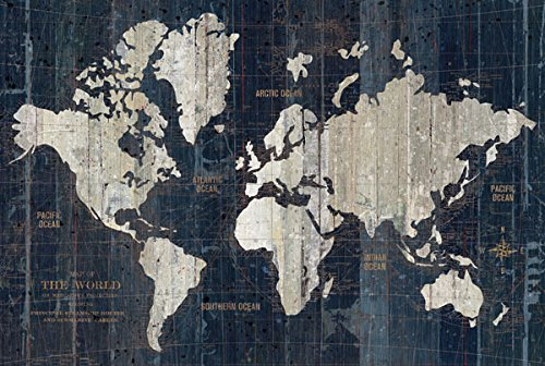 (Gango Home Décor Beautiful Navy Blue Map of The World by Wild Apple Portfolio; One 18x12in Unframed Paper)