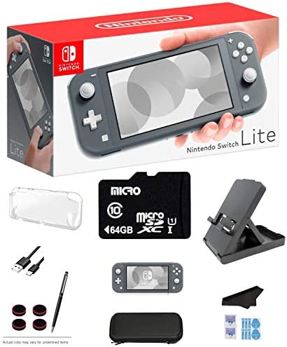 Nintendo Switch Lite - Gray Game Console with 64GB SD Card, LCD Touchscreen, Built-in Plus Control Pad, WiFi, Bluetooth and GalliumPi Ultimate 12-in-1 Bundle