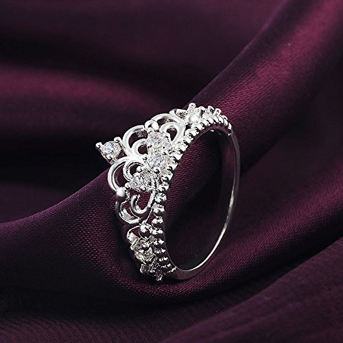 925 Sterling Crown Silver (SeaISee Princess Queen Crown 925 Sterling Silver Plated Ring Design Wedding Crystal Size7)