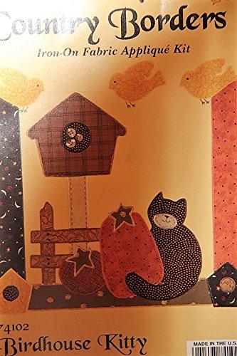 Cvr Kit - Country Borders Iron-On Fabric Applique Kit - 74102 Birdhouse Kitty